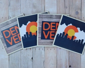 Denver Gift / Denver Coasters / Denver / Colorado Flag / Colorado Gift / Denver Sign / Denver Art / Colorado Coasters / Colorado / Denver