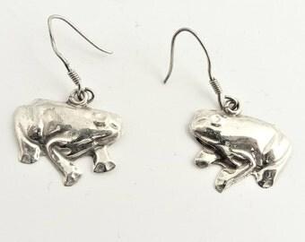 Vintage Frog Drop Earrings- Sterling Silver