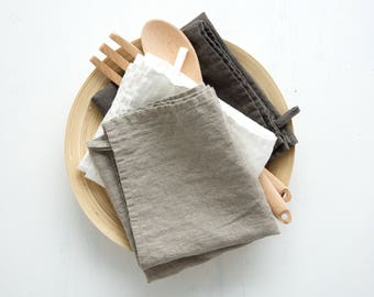 Linen Towels - Natural Linen Kitchen Towels - Dish Tea Towels - Stone Washed Linen Towels - Kitchen Towels - Natural Linen Towel