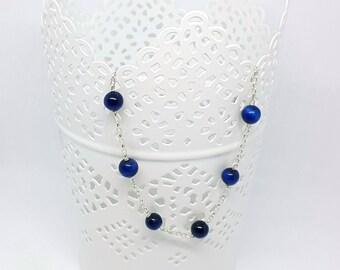 Bracelet chic et discret, oeil de tigre bleu et argent massif chic and  discreet bracelet