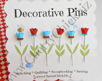 Decorative Sewing Pins - Pretty Pins - Gift for Quilters - Sewing Pins - Aqua Red - Quilting Pins -  Pincushion Pins - Cherry Chick