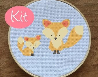 Easy Modern Fox Cross Stitch Kit Pattern - Baby Fox Cross Stitch Pattern - Modern, Cute - Counted Cross Stitch