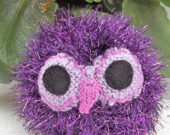 Sparkler the Owl. Purple. Hand knitted soft toy, graduation or childrens gift, birds, stuffed animal.