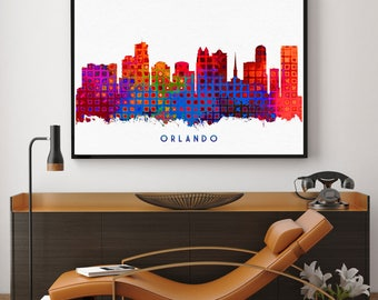 Orlando Skyline Print, Florida Print, Orlando Poster, Florida Wall Art, Watercolor Art, Wall Decor, City Skyline Decor (N134)