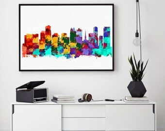Orlando Skyline Art, Florida Print, Orlando Poster, Orlando Wall Art, Abstract Art, City Skyline Wall Decor (N135)