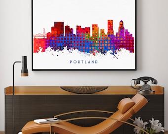 Portland Skyline Print, Portland Poster, Portland Art, Portland Decor, Home Decor, Nursery Wall Art (N143)
