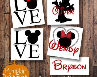 DISNEY Monogram /Mickey and Minnie Decals/Monogram Decal/Disney car decal/His and Hers Decals/Disney Yeti decal/Disney Love/Yeti cup decal