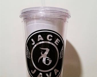 Jace Java tumbler, The Mortal Instruments inspired, Shadowhunters tumbler, Jace Herondale, Love rune, Angel wings, 16 oz clear BPA free