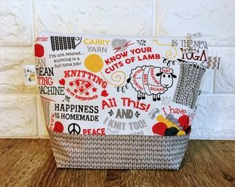 Llama Knitting Project Bag, Spring Project Bag, Knitting Bag, Knitting Project Bag Zipper, Yarn Bowl, Yarn Tote Bag, Crochet Project Bag
