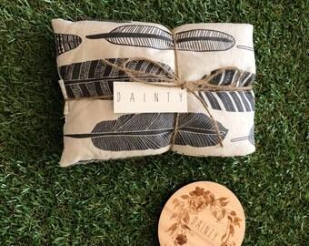 Organic Heat Pillow -White / Grey Feathers