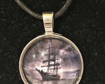 Pirate Ship in moonlight, silver, circle necklace