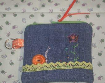 "Mini - denim embroidered ""My snail"" Kit"