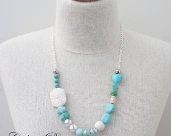Turquoise Gemstone necklace Aquamarine necklace Quirky Necklace Asymmetrical Necklace Mummy and Daughter necklace Ocean necklace - Seaspray