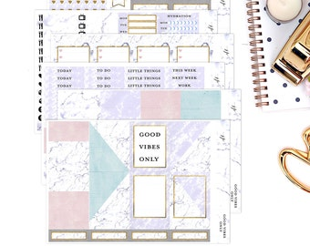 Good Vibes Only Marble Stickers || Weekly Planner Sticker Kit|| for Erin Condren Vertical Layout