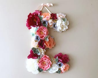 Flower numbers, Flower Letters, 18''/24'' Nursery letters, Floral monogram, Personalized nursery decor, Baby shower gift, Nursery wall art
