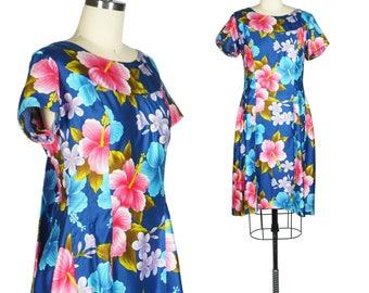 60s Hawaiian Print Dress Tiki Dress Attached Cape Back