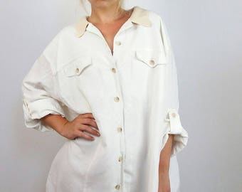 Vintage 90's Over-sized Button-up Linen Shirt / Summer Jacket / Coat   Size XL or Onesize