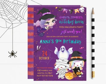 Halloween Birthday Invites, Halloween Invite, Halloween Birthday Party Invitation, Halloween Invite, Halloween Birthday Party Printable,