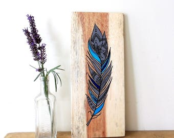 Feather Wood Wall Art - Feathers, Feather Art, Feather Picture, Feather Painting, Wood Art, Reclaimed Wood, Mandala,Blue Feather, Boho Art