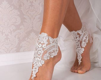 Lace Barefoot Sandals Bridal Footless Shoes Beach Wedding Bridesmaid