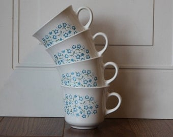 Corelle Blue Heather Coffee Cup, Corelle by Corning Blue Heather Mug, Listing For Set of 4, Vintage Corelle Cups