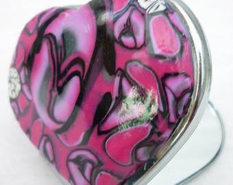 Miroir de poche  polymère forme coeur tons rose et noir