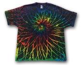 Tie Dyed • XL • Black Rainbow Spirograph • Pocket T=Shirt • Reverse Dyed