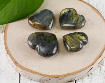 LABRADORITE Hearts - Mini and Medium - Labradorite Stone, Healing Gemstone Heart, Chakra Crystal, Heart Stone, Heart Chakra Stone E0750