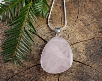 ROSE QUARTZ Crystal Pendant - 5cm Freeform Polished Rose Quartz Pendant, Rose Quartz GIft, Rose Quartz Jewelry, Rose Quartz Necklace E0723