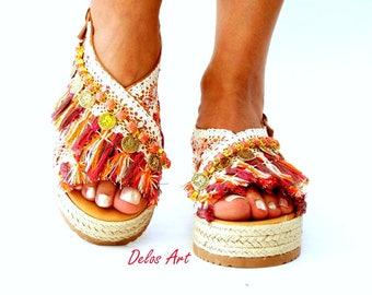 Orange and coral, Leather sandals, Sandals wedged Heel, Platform,  Greek leather sandals, boho sandals,  Handmade sandals