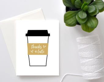 Thanks a Latte // Greeting Card // Thank You Card // Girlfriend Card // Boyfriend Card // Friend Card