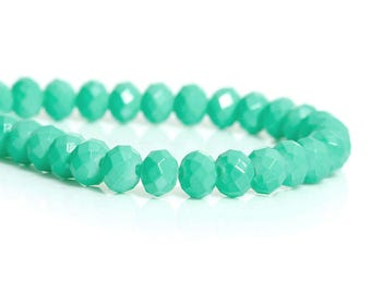 50 Turquoise 6mm glass faceted beads / oval beads