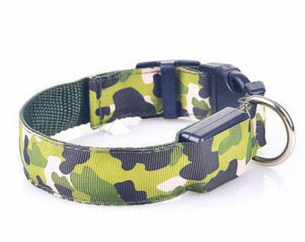 LED Dog's Collar in Multi Camouflage Colors