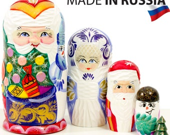 "Nesting Doll - ""Santa and Friends - Bag with gifts"" - Carved wood design - 5 dolls in 1 - MEDIUM SIZE - Hand-painted in Russia"