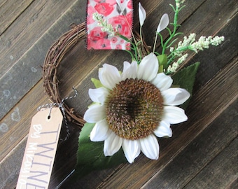 BOHO RUSTIC SUMMER Wreath|Grapevine Floral|Wedding White Sunflower|Shabby Chic Decor