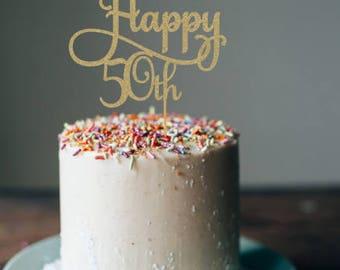 Happy 50th cake topper,  50th cake topper, 50th birthday cake topper, 50th birthday party, 50th birthday decorations, glitter cake topper