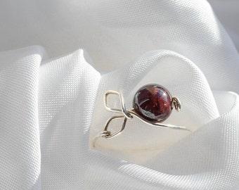 Berry Ring - Minimalist Ring - Sterling Silver Ring - Cherry Garnet Ring - Engagement Ring - Stacking Ring - Wedding Band - Gem ring