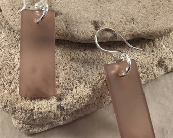 Amethyst Sea Glass Rectangular Earrings (slightly concave) with Hammered Sterling Silver Findings