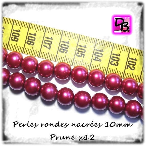 LAST batch # 12 pearls round Pearly # # 10 mm Czech glass # color [plum] # glass pearl beads # # DollyDoo DIY jewelry creations