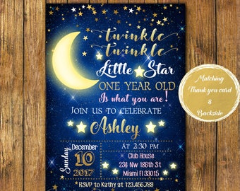Digital file or Printed-Twinkle Twinkle Little Star Birthday Invitation-How We Wonder What You Are-Boy or Girl-Customize-Free Shipping