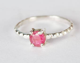 Ruby Ring, Pure 925 Sterling Silver Ring, Eternity Ring, Stacking Ring, July Birthstone Ring, Boho Ring, Minimalist Ring, Round Stone Ring