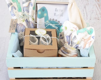 Baby shower gift basket etsy baby boy gift basket baby dinosaur clothes organic handmade baby shower gift negle Image collections