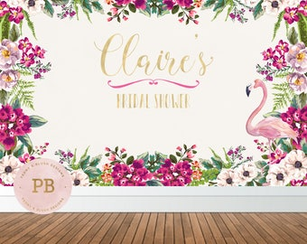 Digital Flamingo Bridal Shower Backdrop, Floral Backdrop, Baby  Shower Backdrop, Birthday Backdrop, Birthday Banner, Cake Table Backdrop