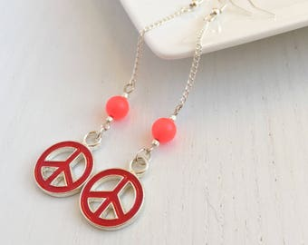 Peace Sign Earrings, Hippie Peace Sign, Hippy Jewelry, Gift For Her, Boho Hippie Earrings, Clip On Earrings, Long Earrings, Funky Earrings