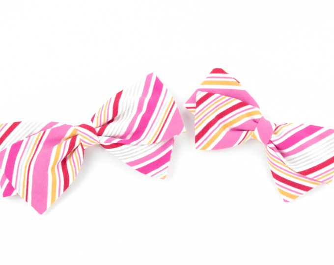 Spring Bow - Baby Girl and Older Girls - Fabric Hair Bow with Nylon Headband or Hair Clips