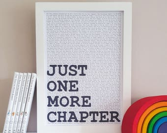 Kids Reading Print - Just One More Chapter - Reading Quote - Book Nook Decor - Childrens Book Wall Art - Bookish Gift - Literary Poster