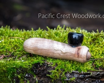 Stub's Curly Maple, pipe, Black Ebony Bowl, unique pipe, cool pipe, tobacco smoking pipe, small wood pipe, stash pipe, pipe, wooden pipe