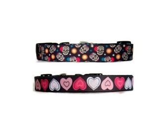 """1"""" Dog collar Nylon custom Sugar skulls dog collar Black dog collar Hearts dog collar Gothic dog collar Cool dog collar Pink hearts Dogs"""