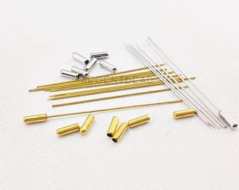 25pc Safety Lapel Pin Stick-75mm long -Hat Pin Base-Stick Pin Clutch-Glue Pad Brooch-Brooch Base-Brooch Pin  AG339