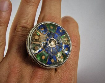 Rare Multan enameled silver ring - Heavy ring - Multan valley